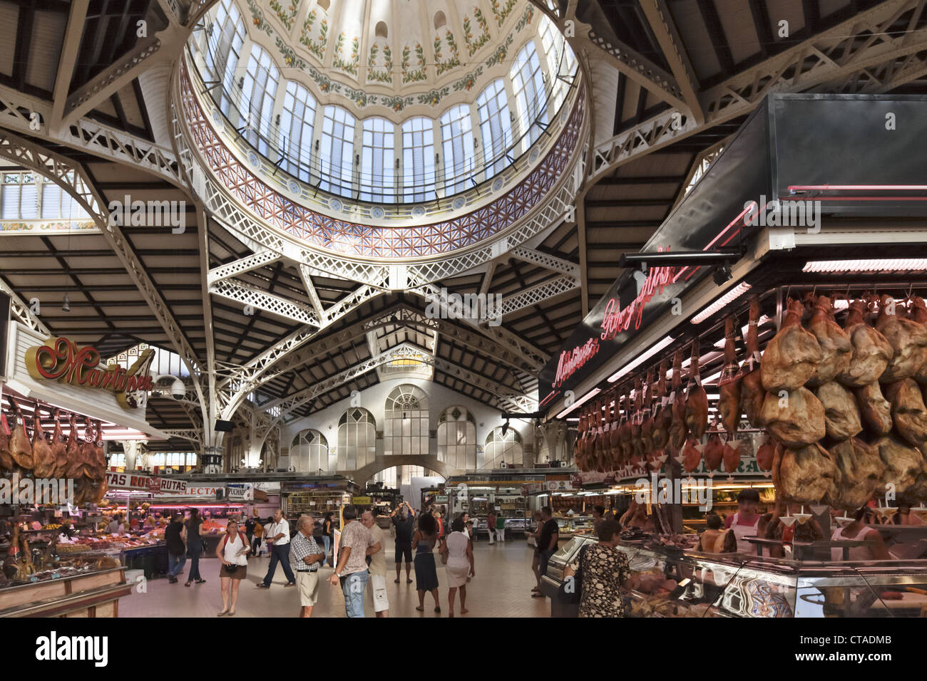 Art nouveau ceiling at central market hall Mercado Central, Valencia Stock Ph...