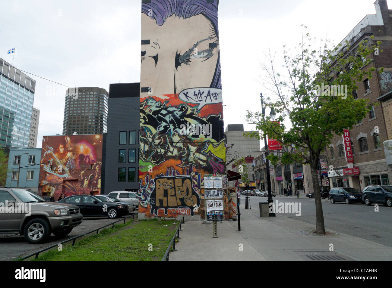 wall mural of comic book character covering building st catherine stock photo wall mural of comic book character covering building st catherine street montreal quebec canada