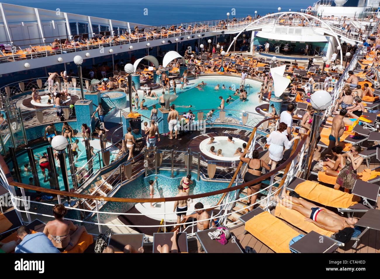 Swimming Pool Areas On Italian Cruise Ship Msc Musica Stock Photo Royalty Free Image 49405733