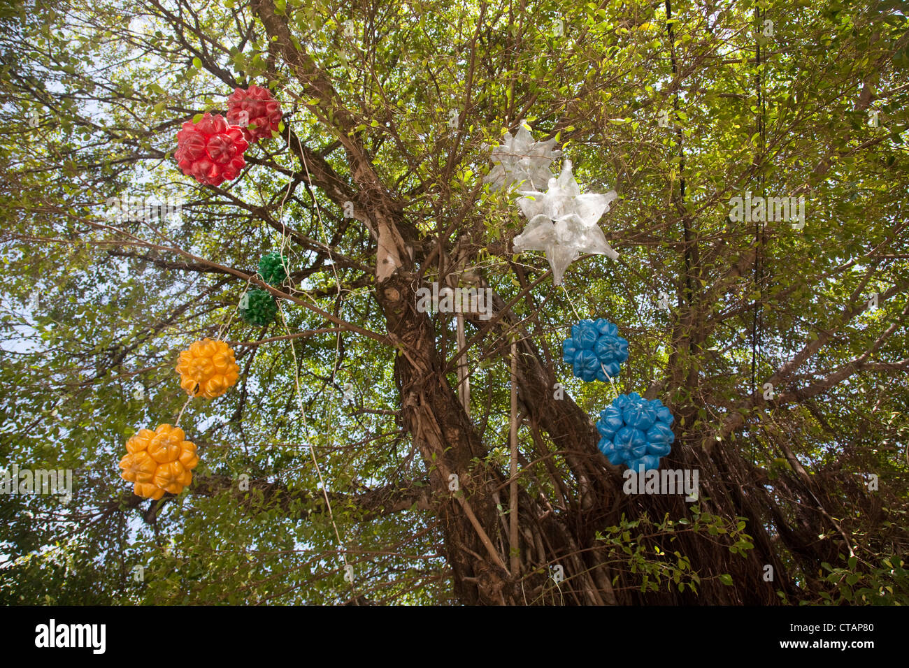 Christmas decorations made from recycled plastic bottles for Christmas decor using plastic bottles