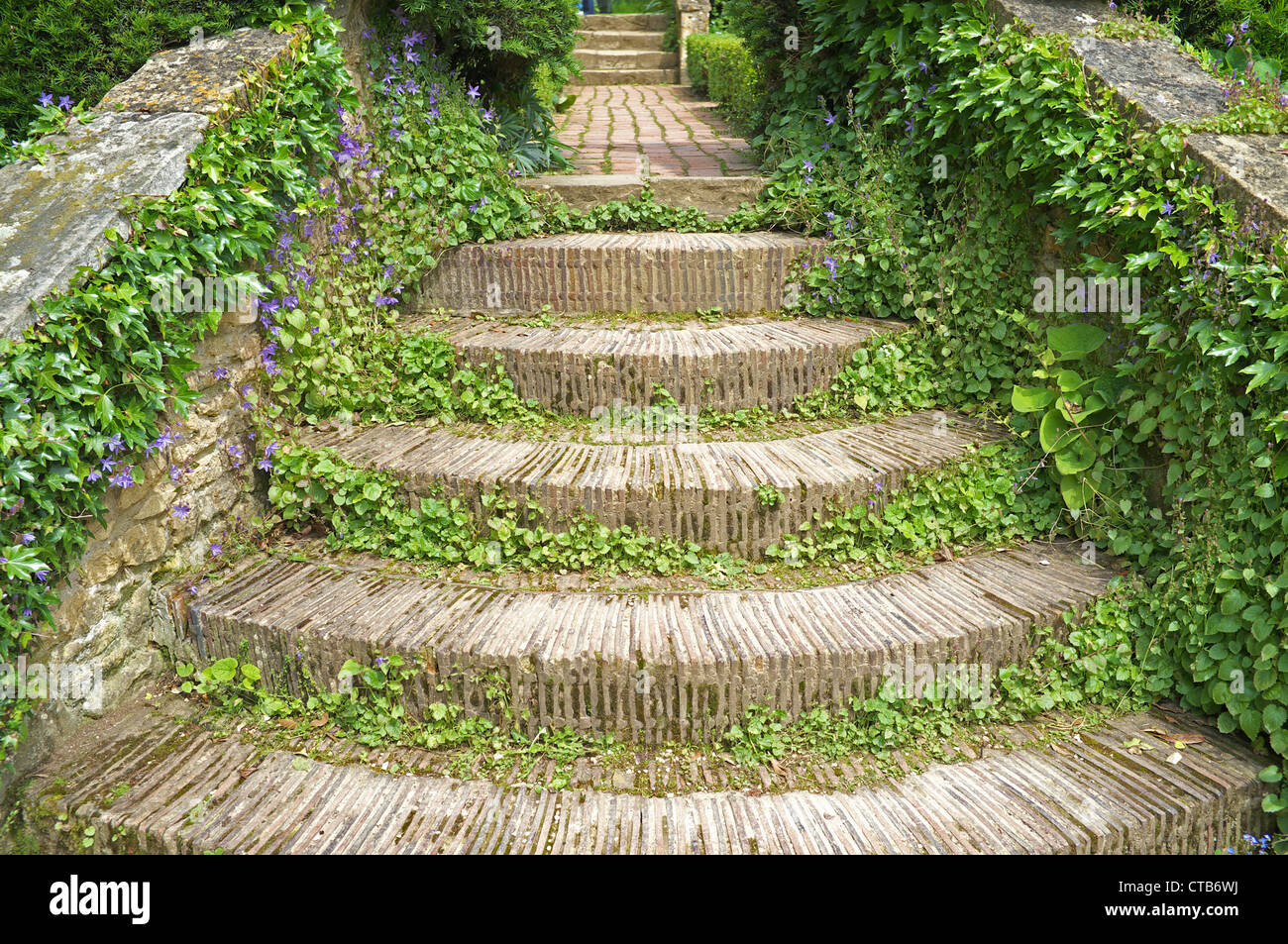 Beautiful Steps Made From Roof Tiles In A Cotswold Garden , England, UK