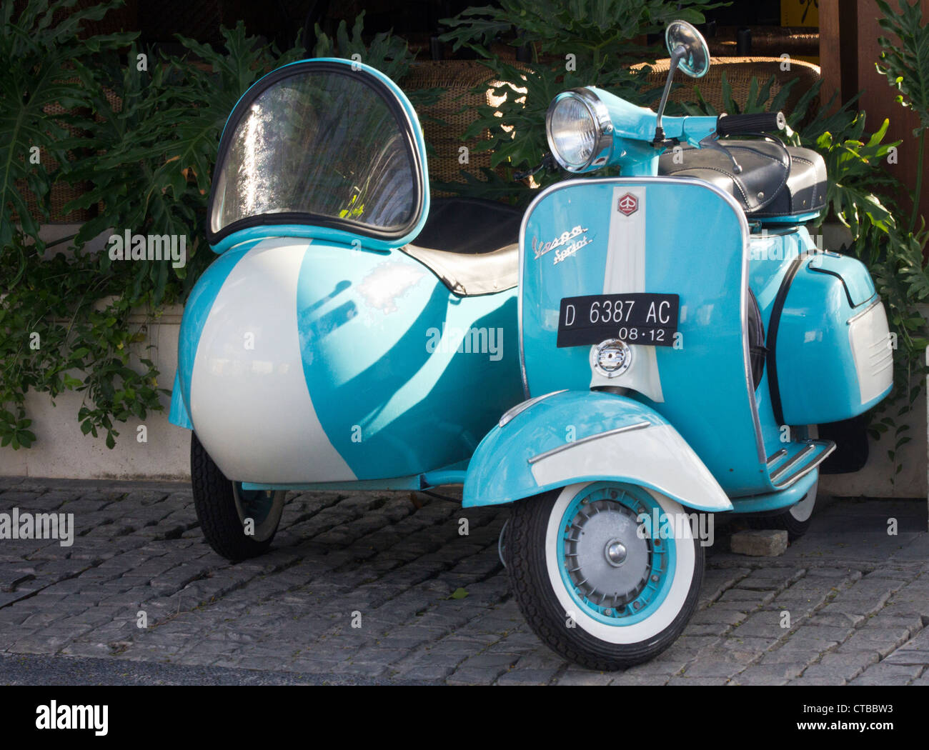 Vespa Scooter Sidecar Denpasar Bali Indonesia Stock Photo