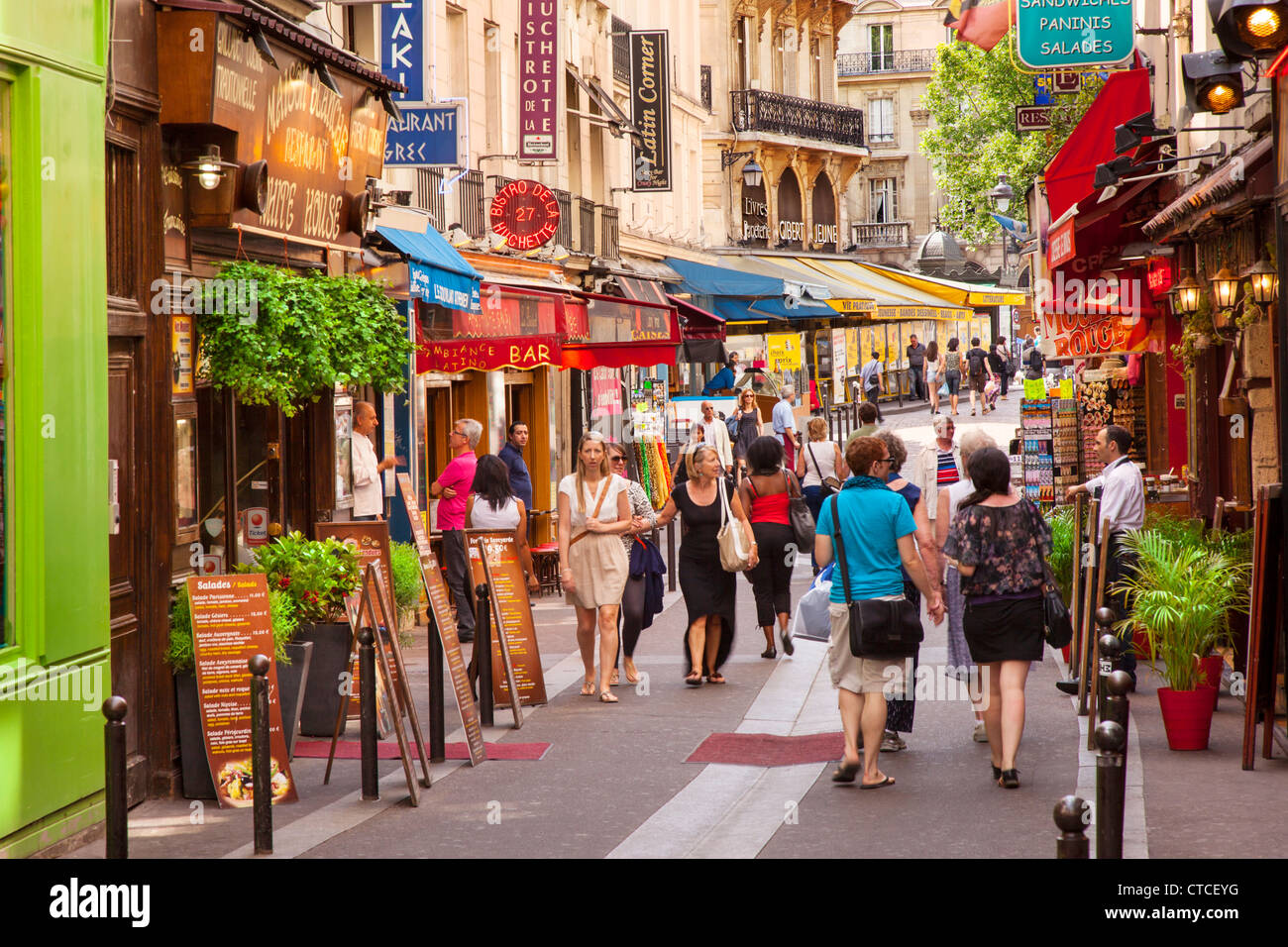 Shops And Tourists Along Rue Saint Severin In The Latin