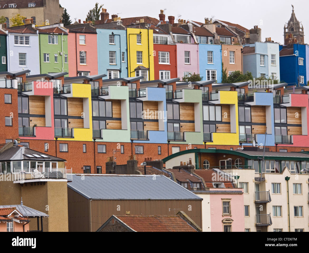 a mix of old and new houses and apartments overlooking bristol