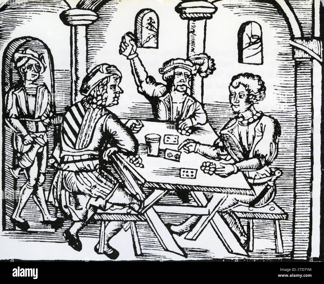 GERMAN HOSTELRY in a medieval woodcut Stock Photo, Royalty ...