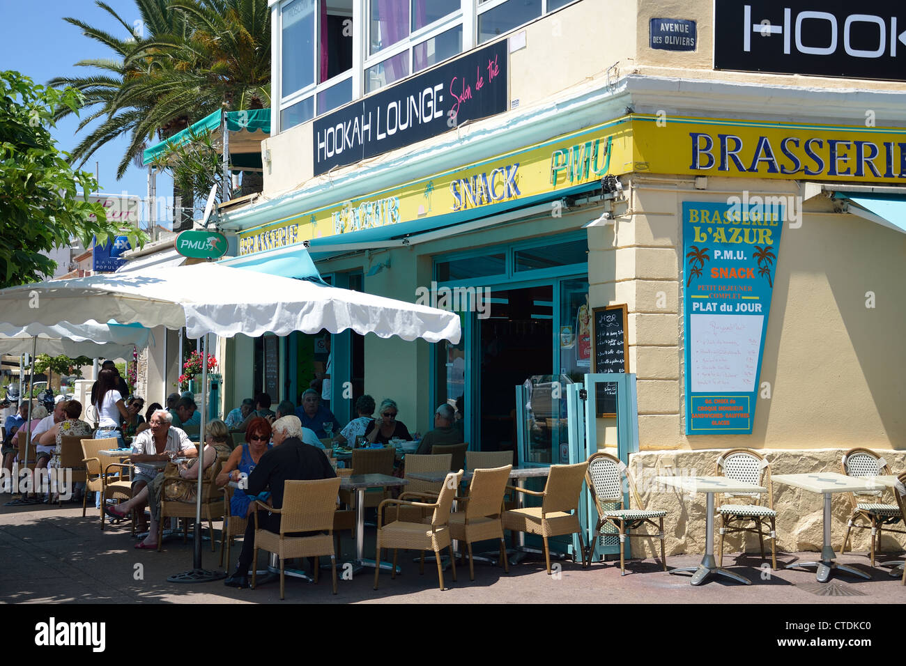 brasserie l 39 azur on seafront cagnes sur mer c te d 39 azur stock photo royalty free image. Black Bedroom Furniture Sets. Home Design Ideas