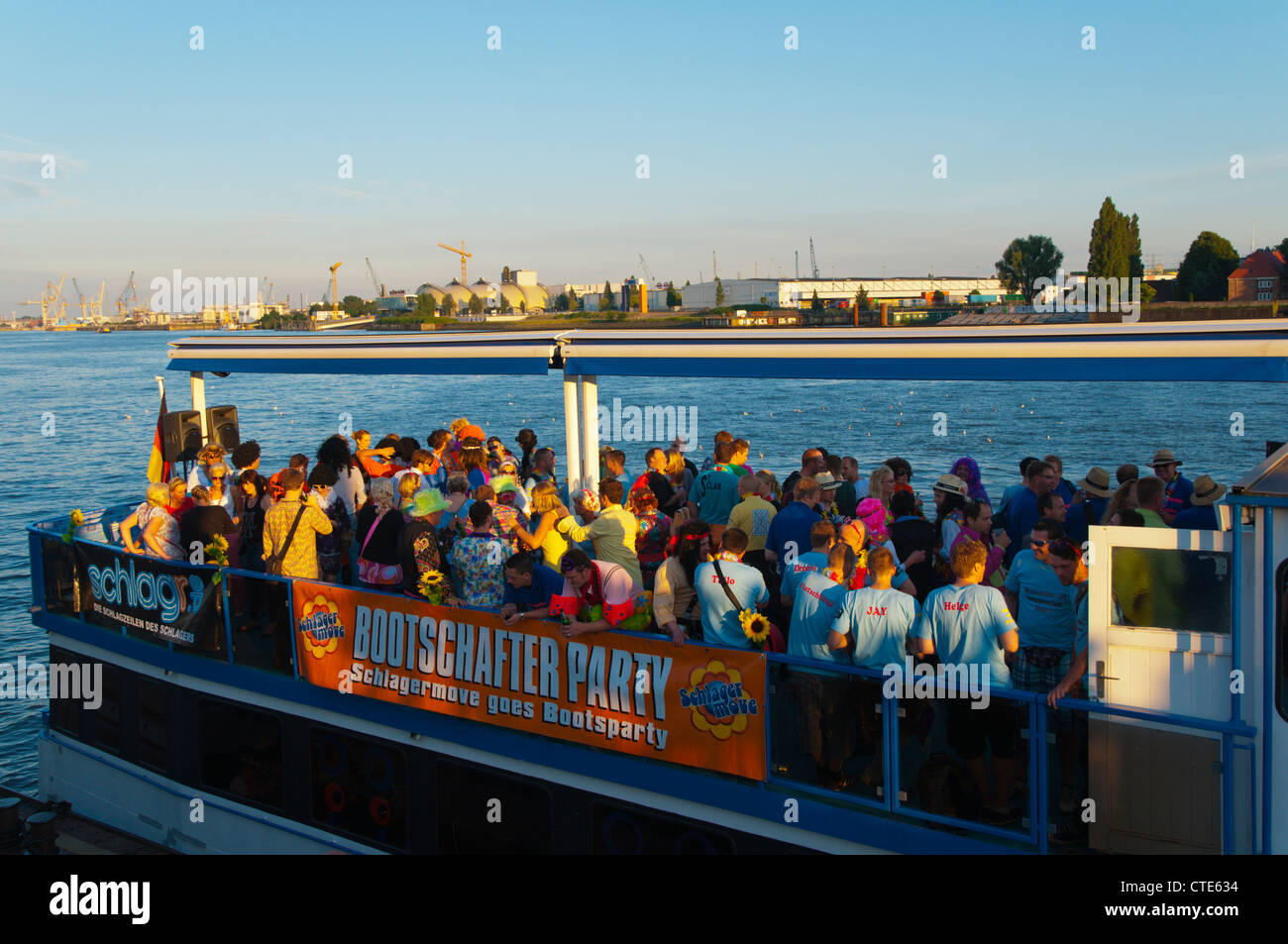 Stock photo hamburg germany riverside new - Party On A Boat In Norderelbe Riverside Central Hamburg Germany Europe