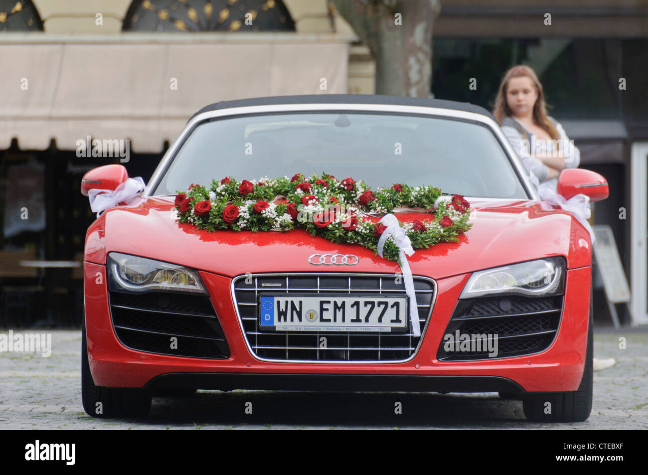 audi r8 convertible red. red audi r8 quattro v10 convertible wedding car luxury roadster vehicle with flower bouquet on bonnet hood heilbronn germany