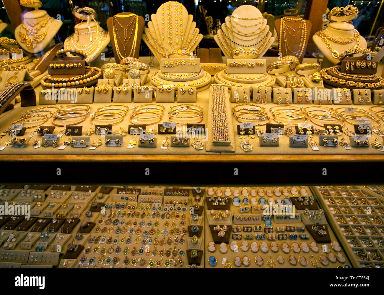 jewelry in shop window on ponte vecchio florence italy