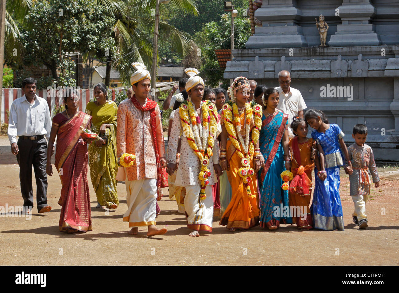 Hindu wedding party at temple matale sri lanka stock for Wedding party dresses in sri lanka