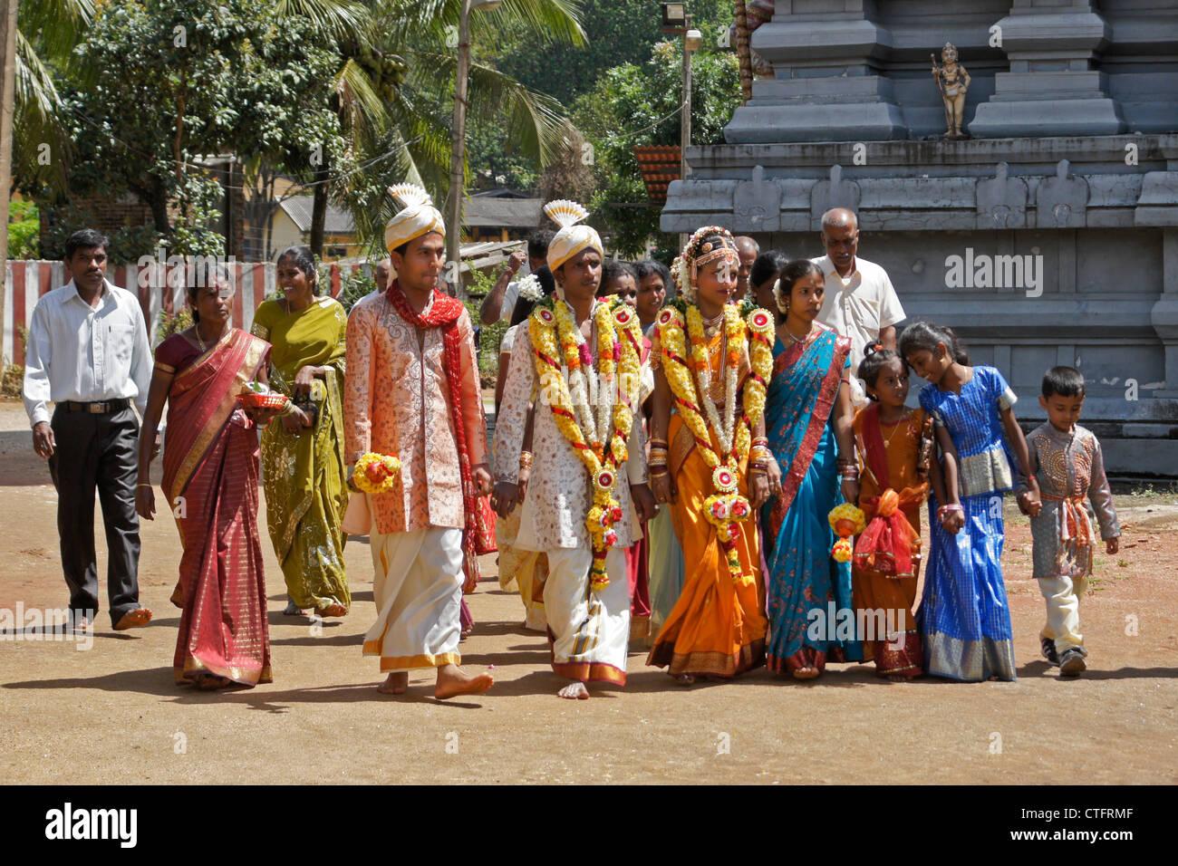 Hindu wedding party at temple matale sri lanka stock for Wedding party dresses in sri lanka