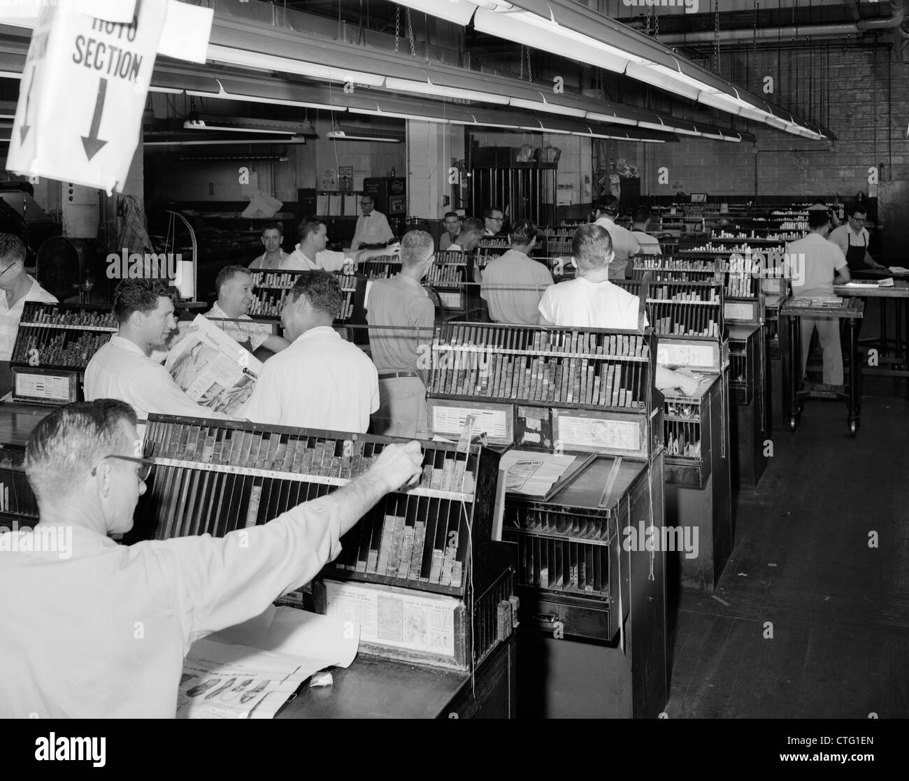 1950s Men Working In Newspaper Advertisement Composing Room ...