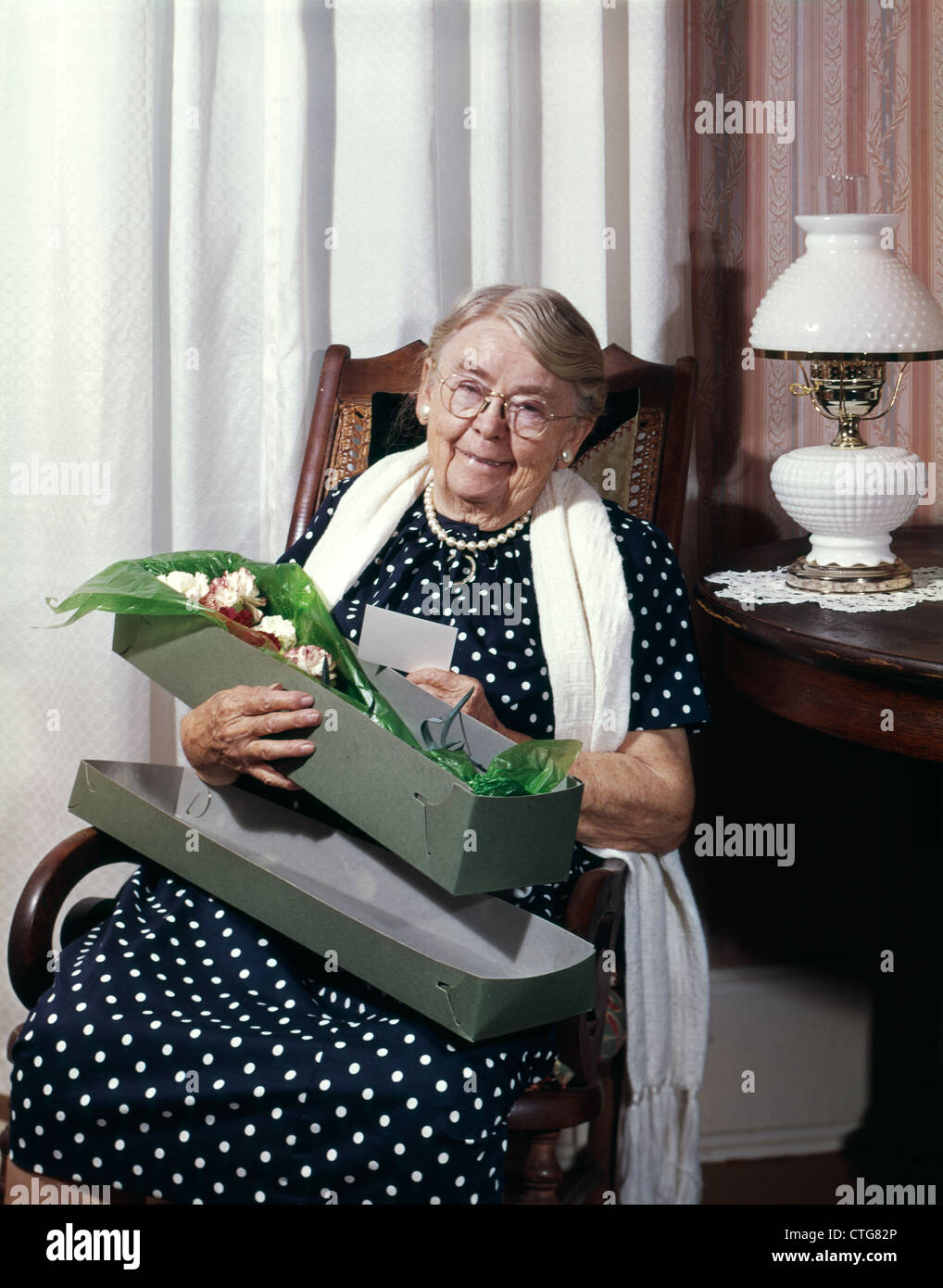 S smiling senior elderly old lady grandma granny