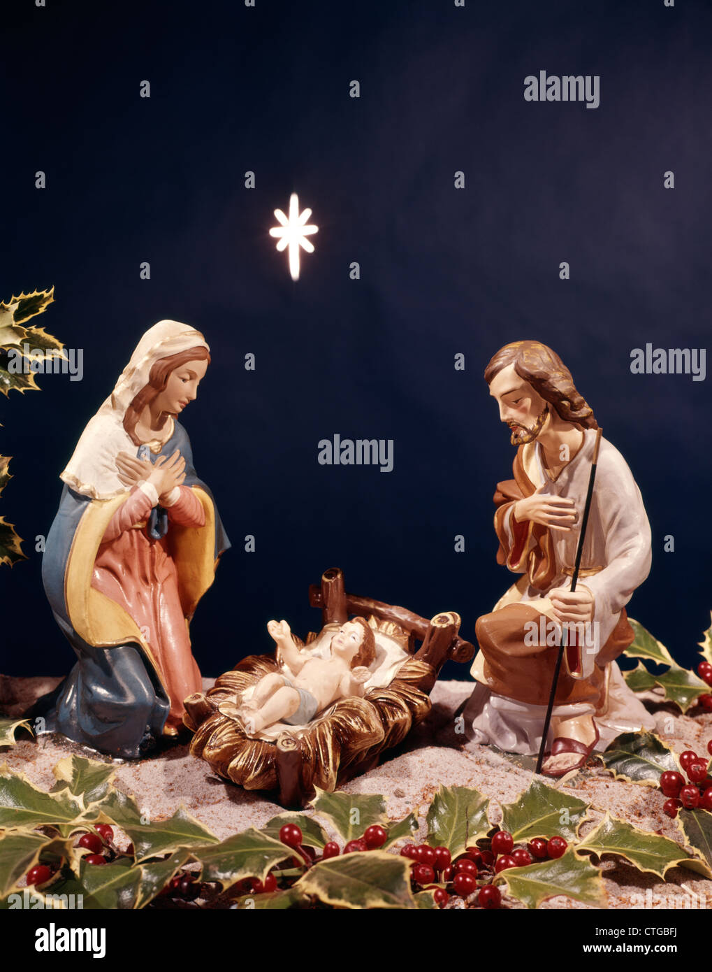 nativity star baby jesus in manager mary joseph stock photo