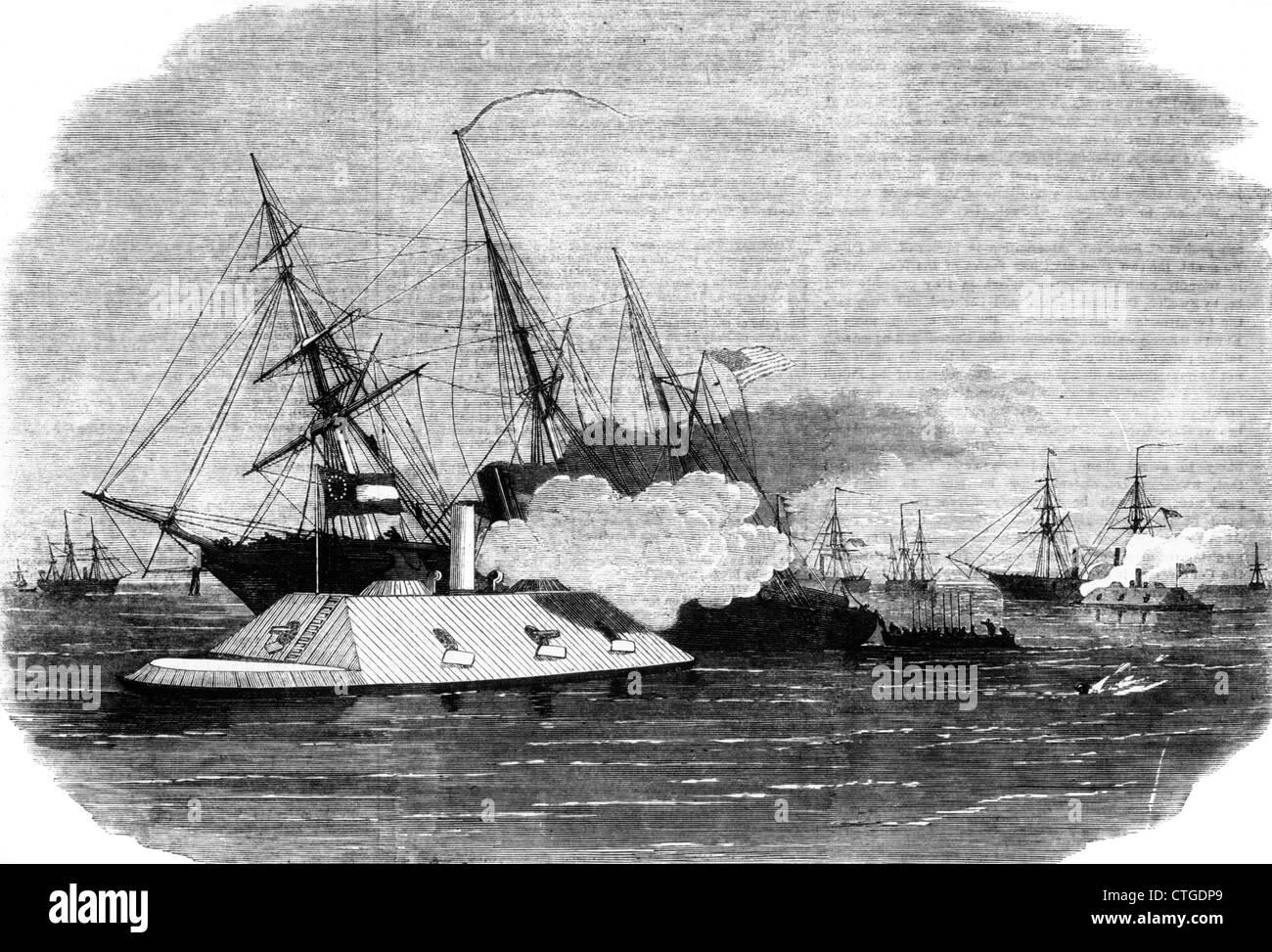 1800s 1860s CONFEDERATE IRONCLAD GUNBOAT ATTACK ON UNION BLOCKADE ...