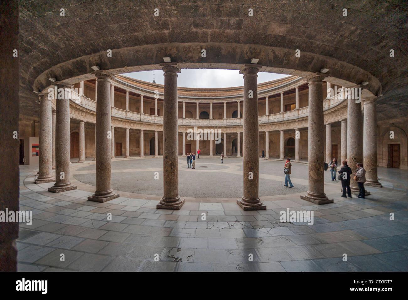 Palace of Charles V, Palacio de Carlos V, Alhambra Granada, Spain Stock Photo...