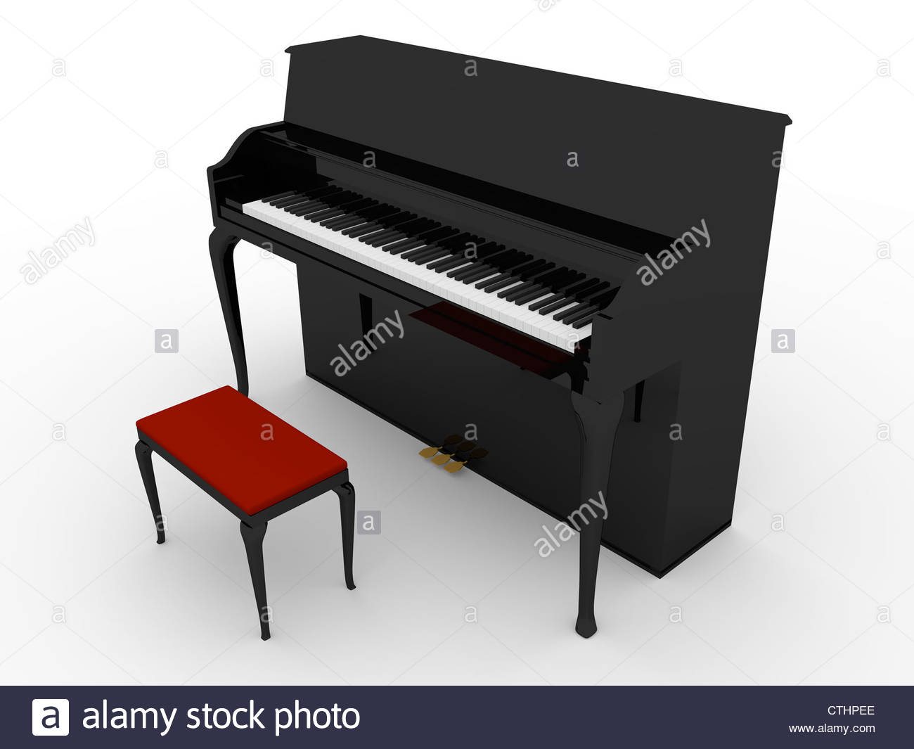 3d Render Of A Piano In Black With A Chair In Red