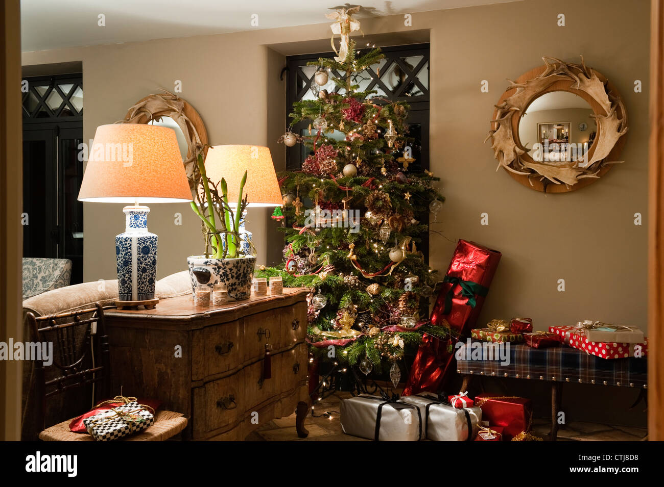 Christmas Tree In Living Room country christmas tree living room stock photos & country