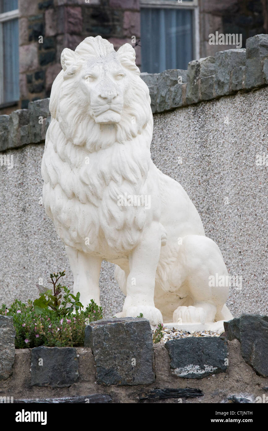 Stock Photo   Outdoor White Lion Statue Made From Granite Marble Stone