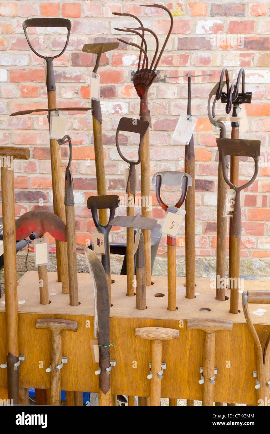 A Display Of Old Garden Tools Refurbished And Offered For Sale At Helmsley  Walled Garden