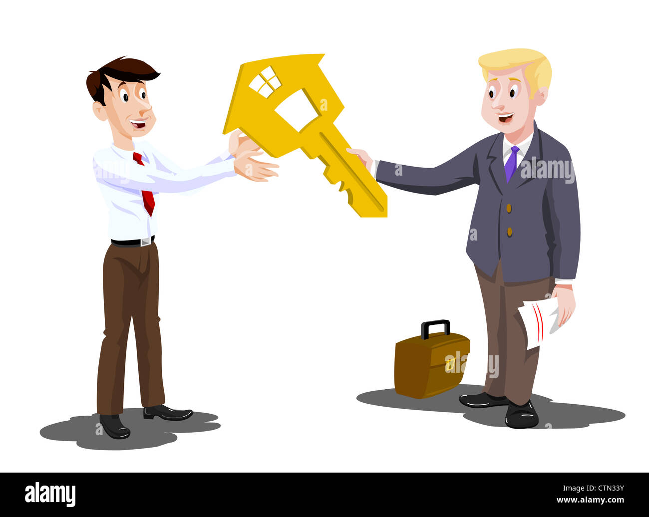 Man Buying a House, Real Estate Agent Handing Over the Key ...