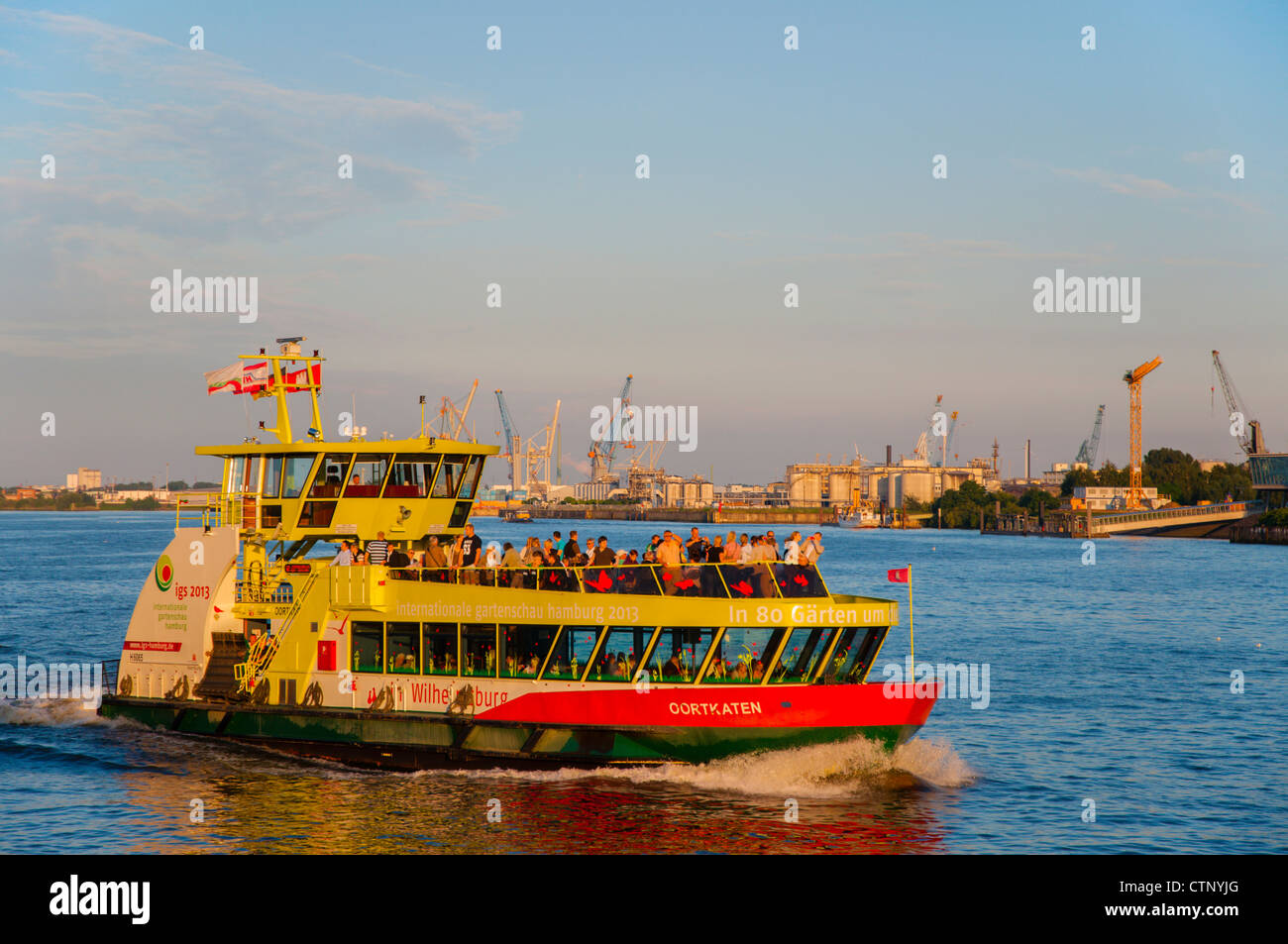 public transportation ferry boat 62 on norderelbe river hamburg stock photo royalty free image. Black Bedroom Furniture Sets. Home Design Ideas