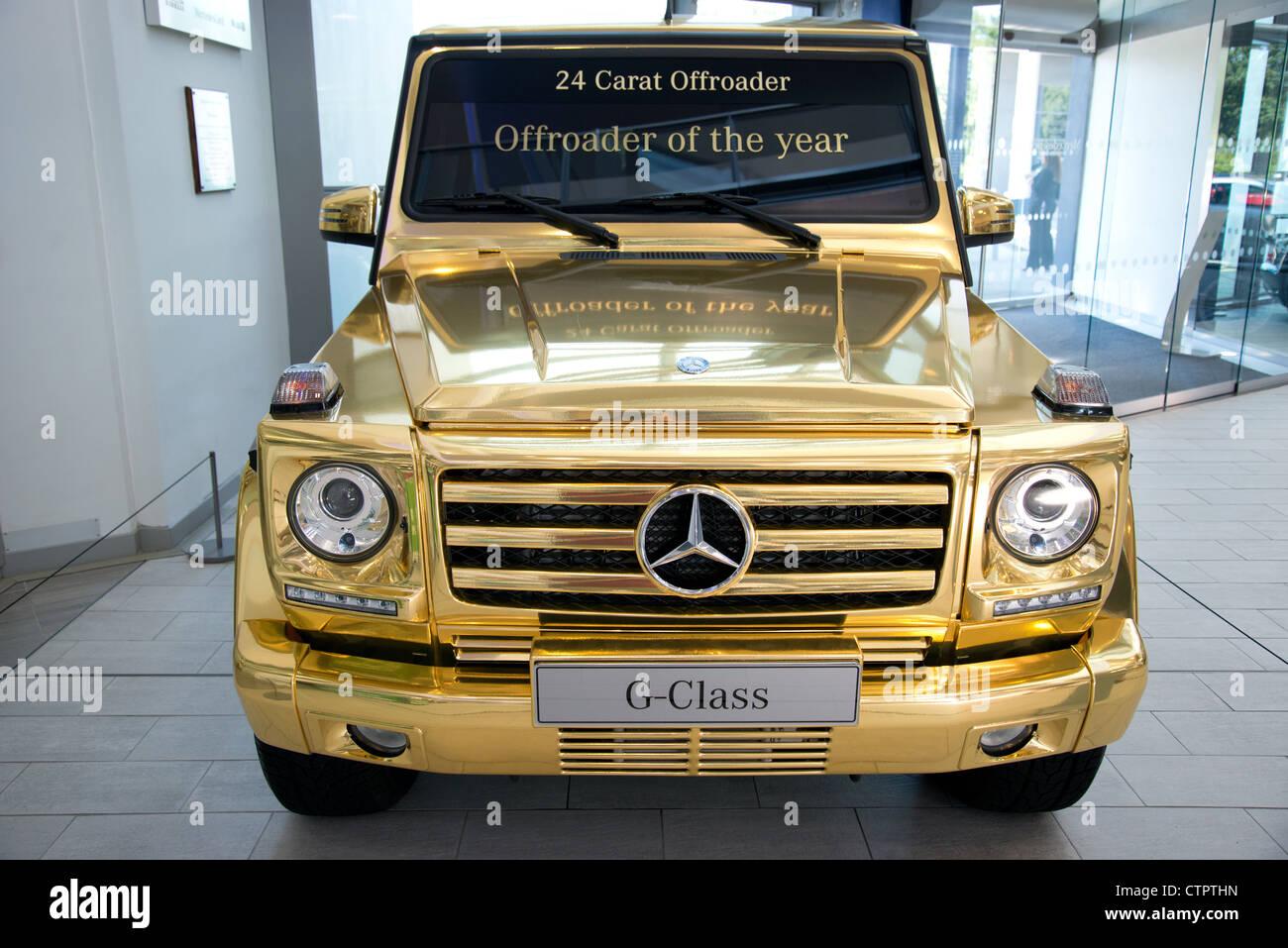 24 carat mercedes offroader car displayed in mercedes benz for Mercedes benz brooklands