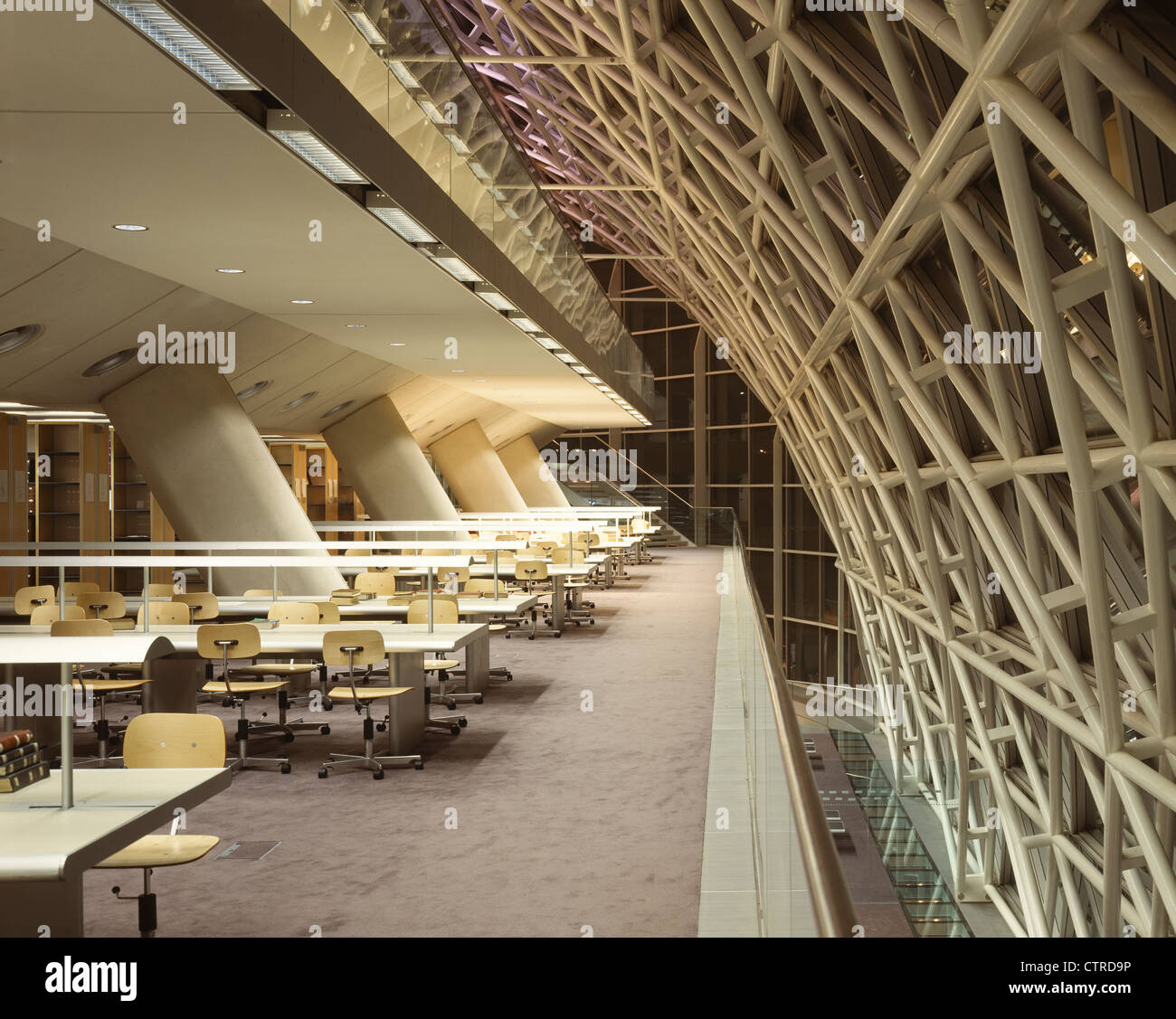 Faculty Of Law University Of Cambridge Library Interior Night With Curved  Glass Structure