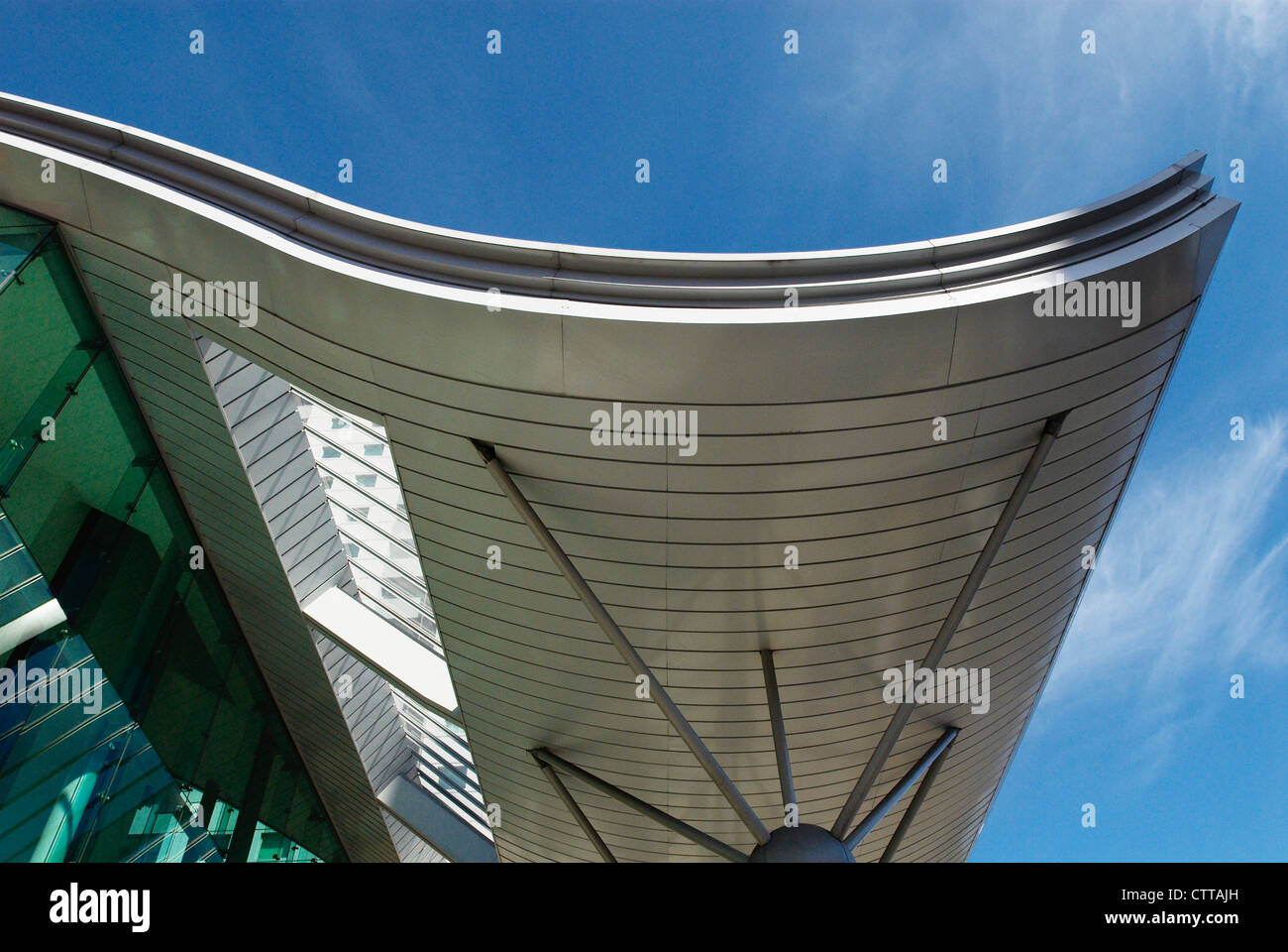 Curved Roof Entrance To Modern Apartments, South London, UK.   Stock Image