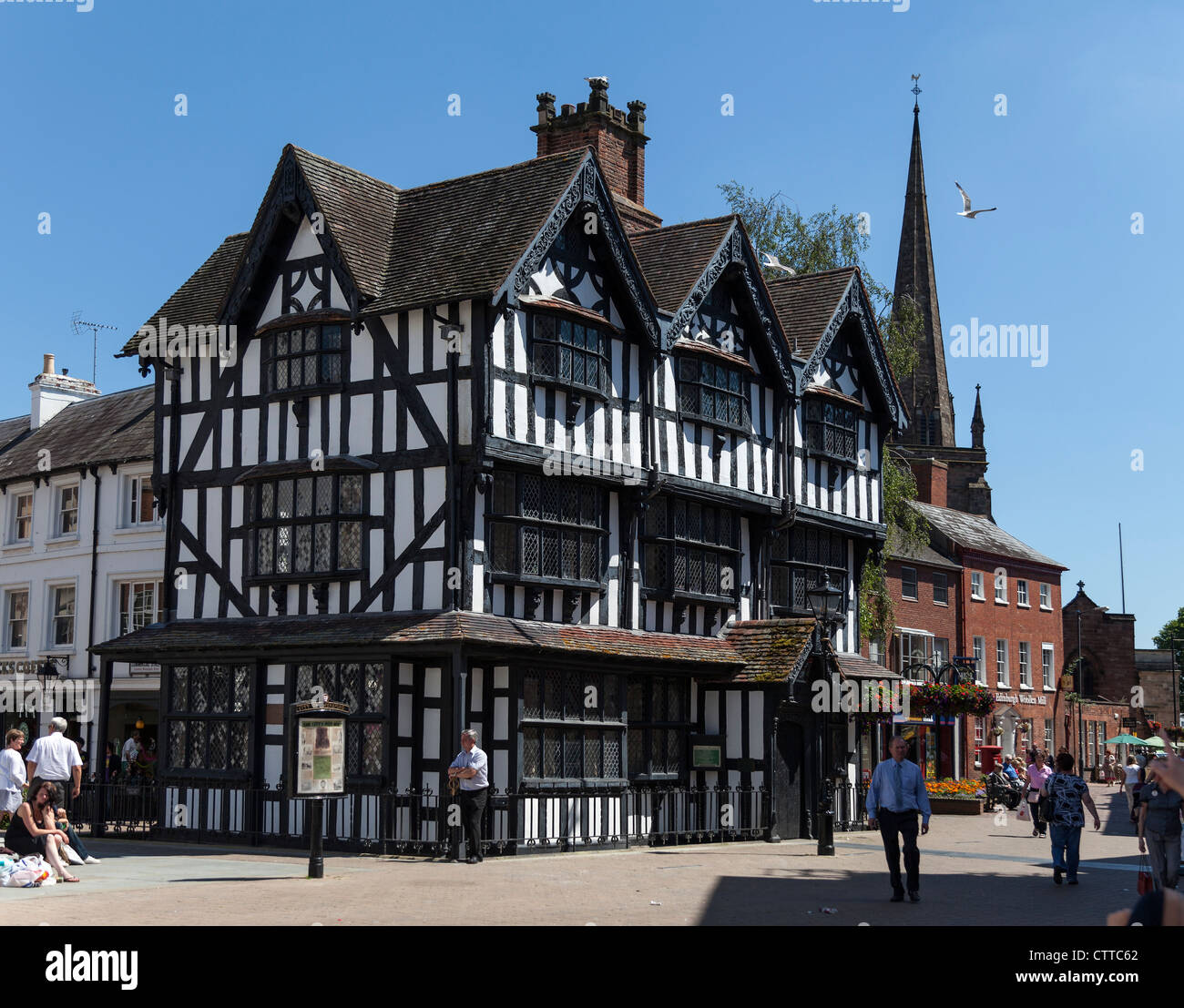half timbered black white house on main thoroughfare in city of stock photo royalty free. Black Bedroom Furniture Sets. Home Design Ideas