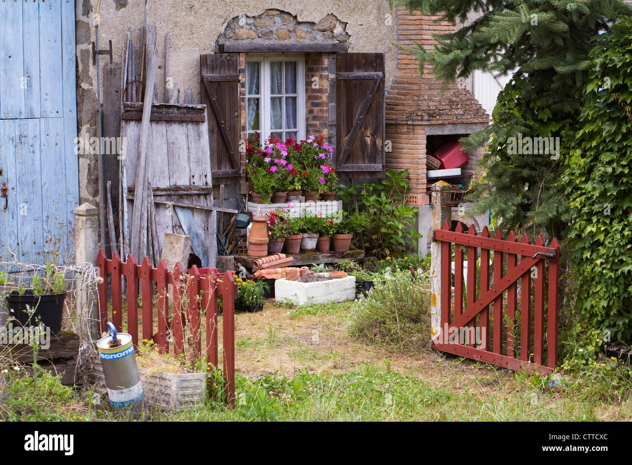 Front garden of a french country cottage stock photo for French country cottages