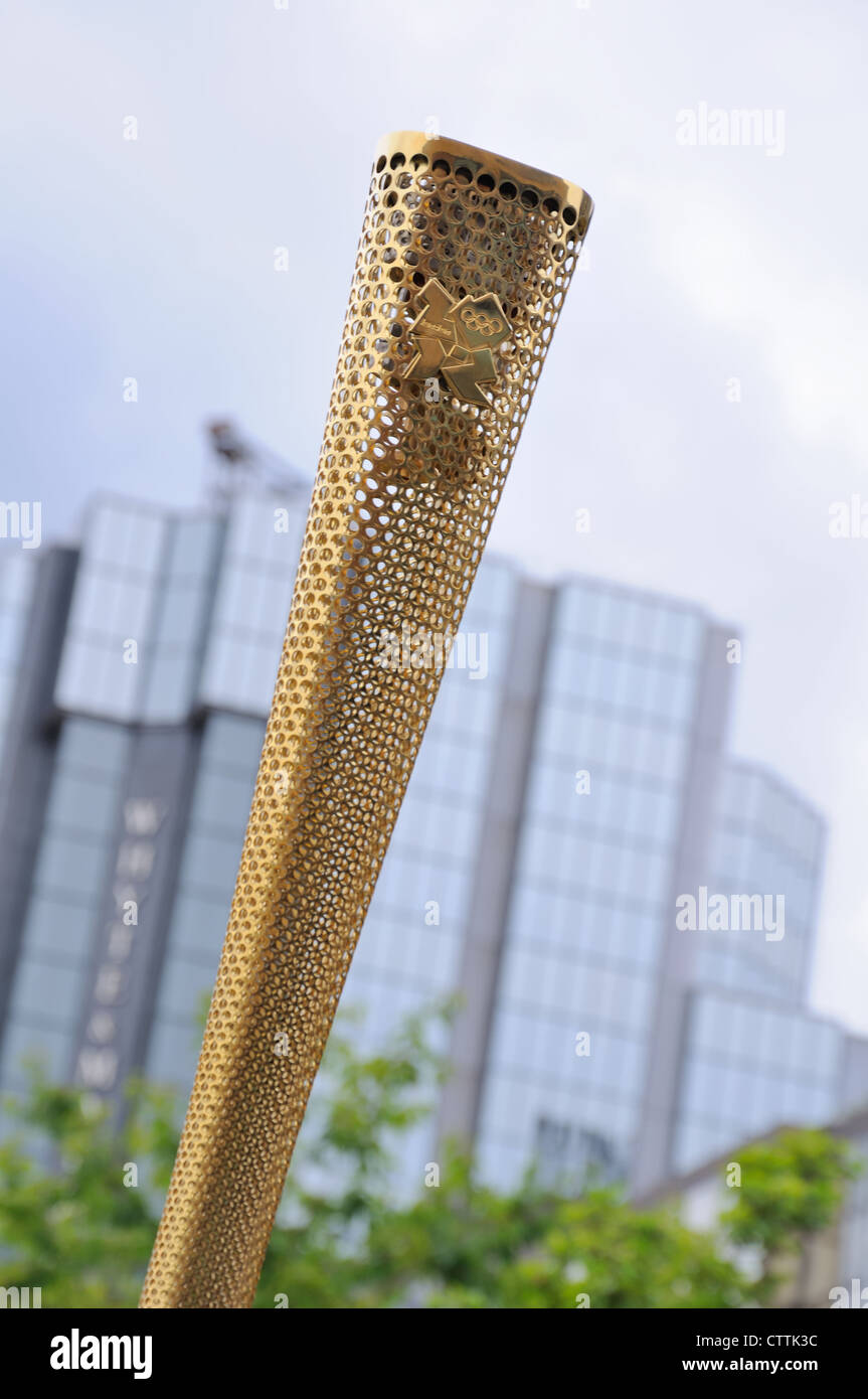 close up of the olympic torch in glasgow scotland stock photo close up of the olympic torch in glasgow scotland