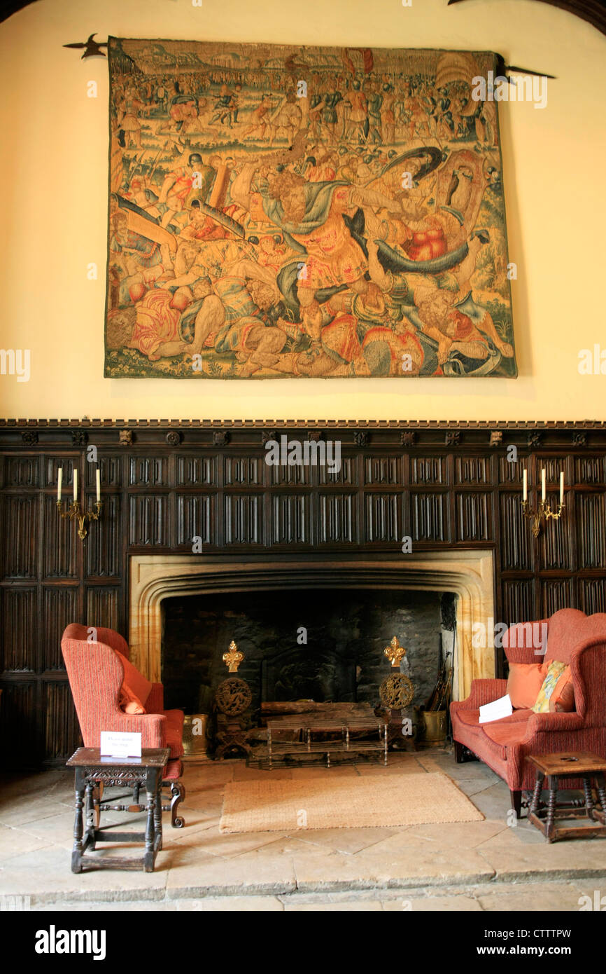 Tapestry over the fireplace in the Great Hall at Athelhampton ...