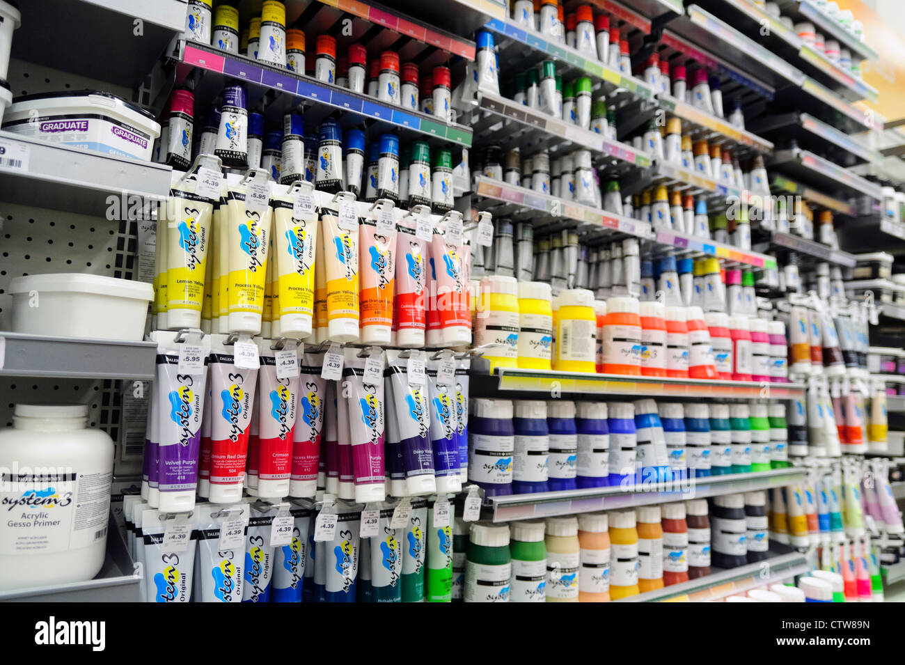 Art supplies tubes of acrylic paint for sale inside a for Craft and hobby supplies
