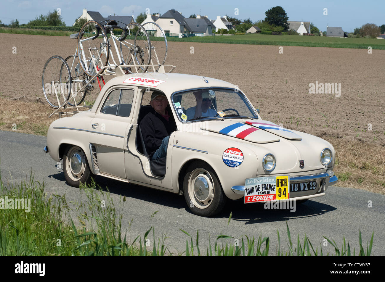 renault dauphine tour de france team car of about 1965 in the tour de stock photo royalty free. Black Bedroom Furniture Sets. Home Design Ideas