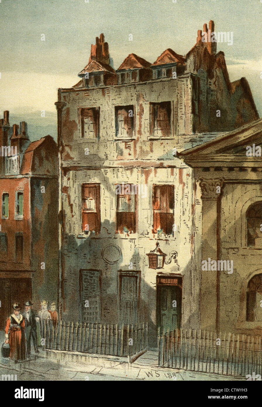 Vintage picture of old london sir isaac newton 39 s house for Classic house old street london
