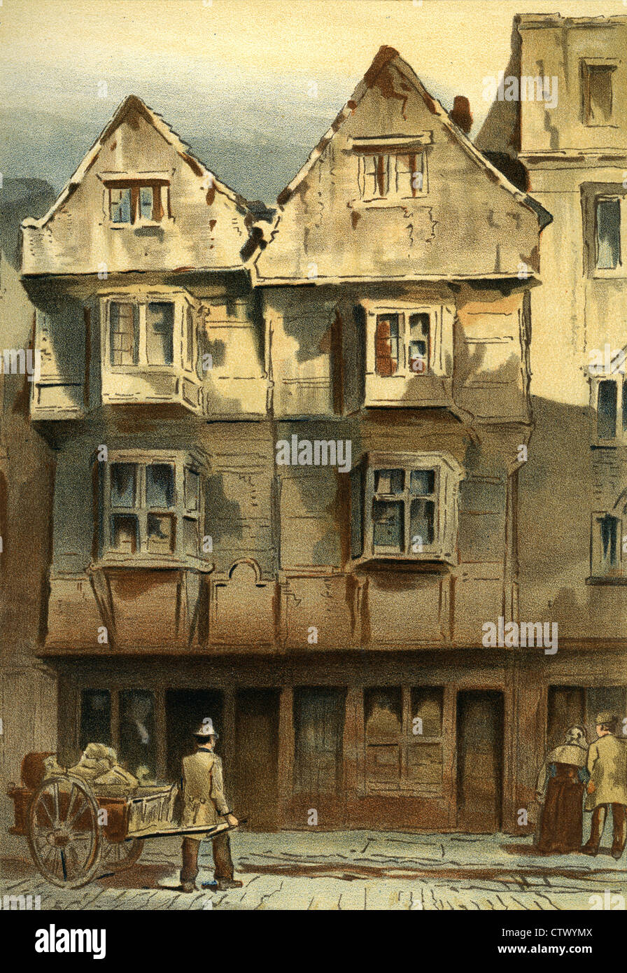 Vintage picture of old london old houses wych street for Classic house old street london