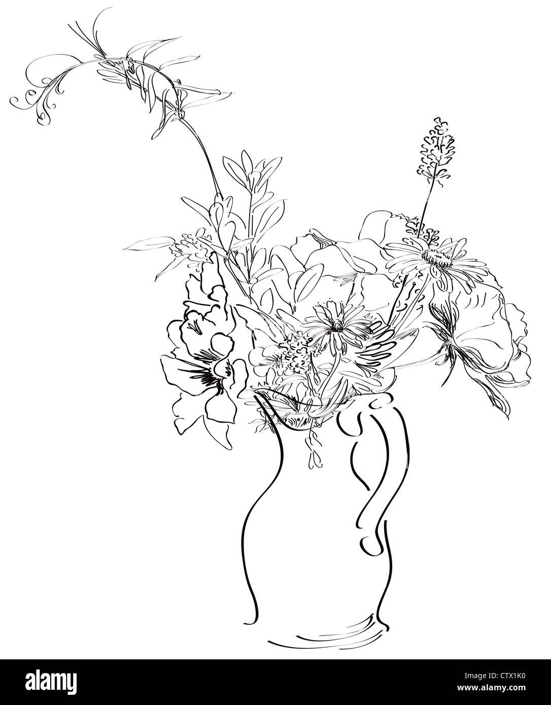 Sketch Of Spring Flowers In A Vase