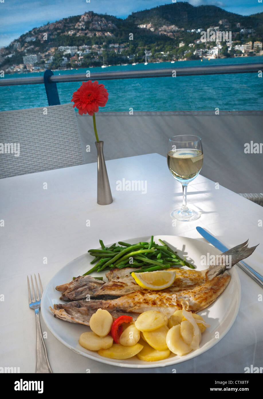 Simple restaurant table setting - Alfresco Restaurant Table Setting With Fresh Local Simple Rustic Fish Lunch In Puerto Andratx Mallorca Balearic Islands Spain