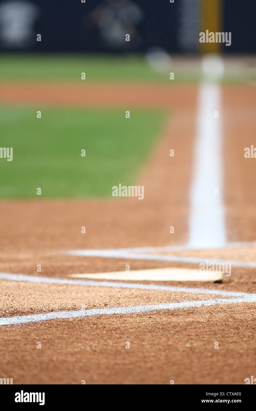 baseball home plate foul line batters box chalk stock photo
