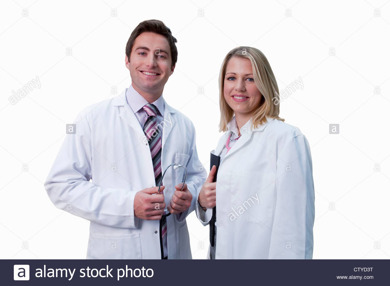 Cut Out Of Male And Female Doctors Wearing White Coats Stock Photo ...