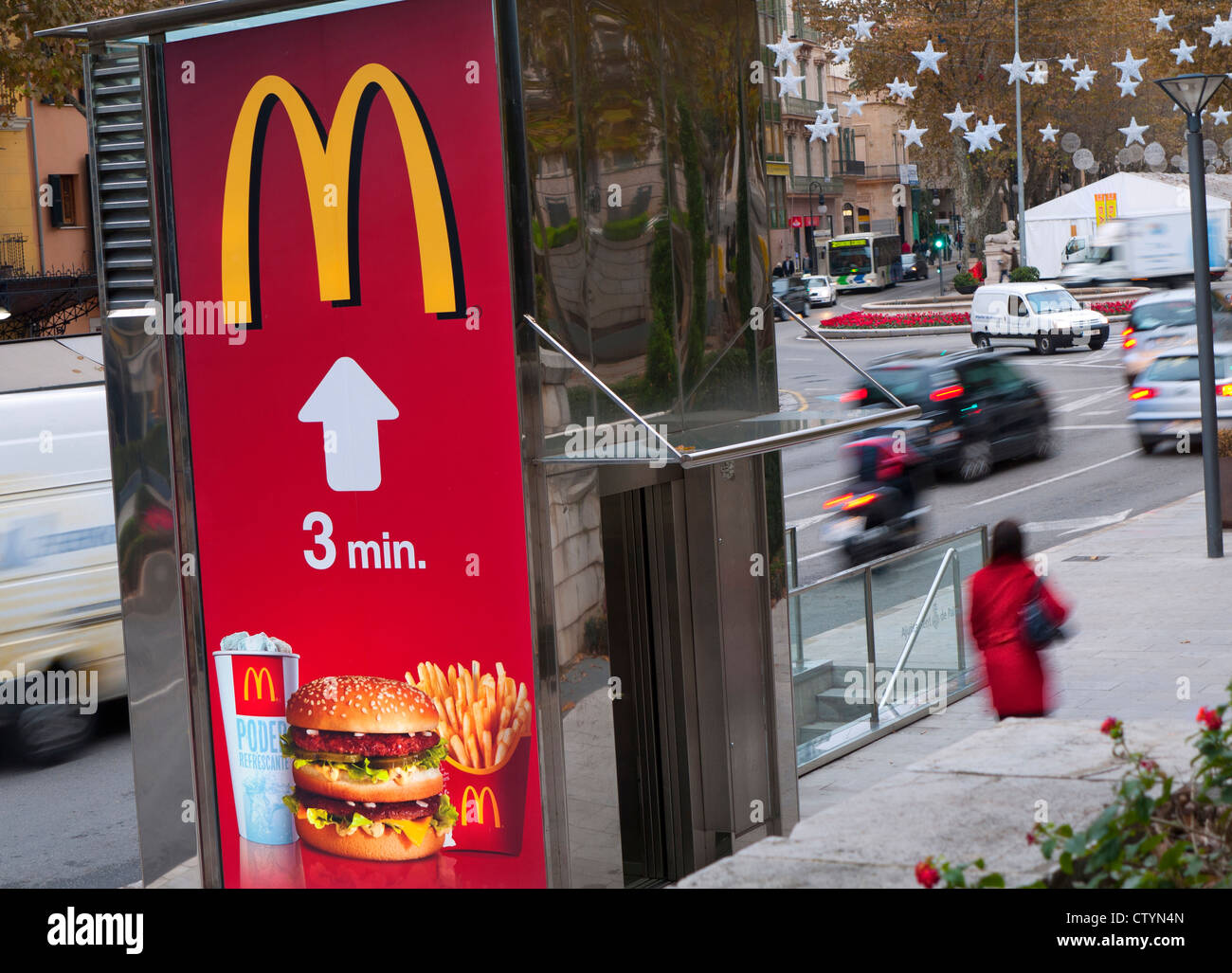 Poster On Busy City Street Advertising McDonalds Fast Food - Street advertising