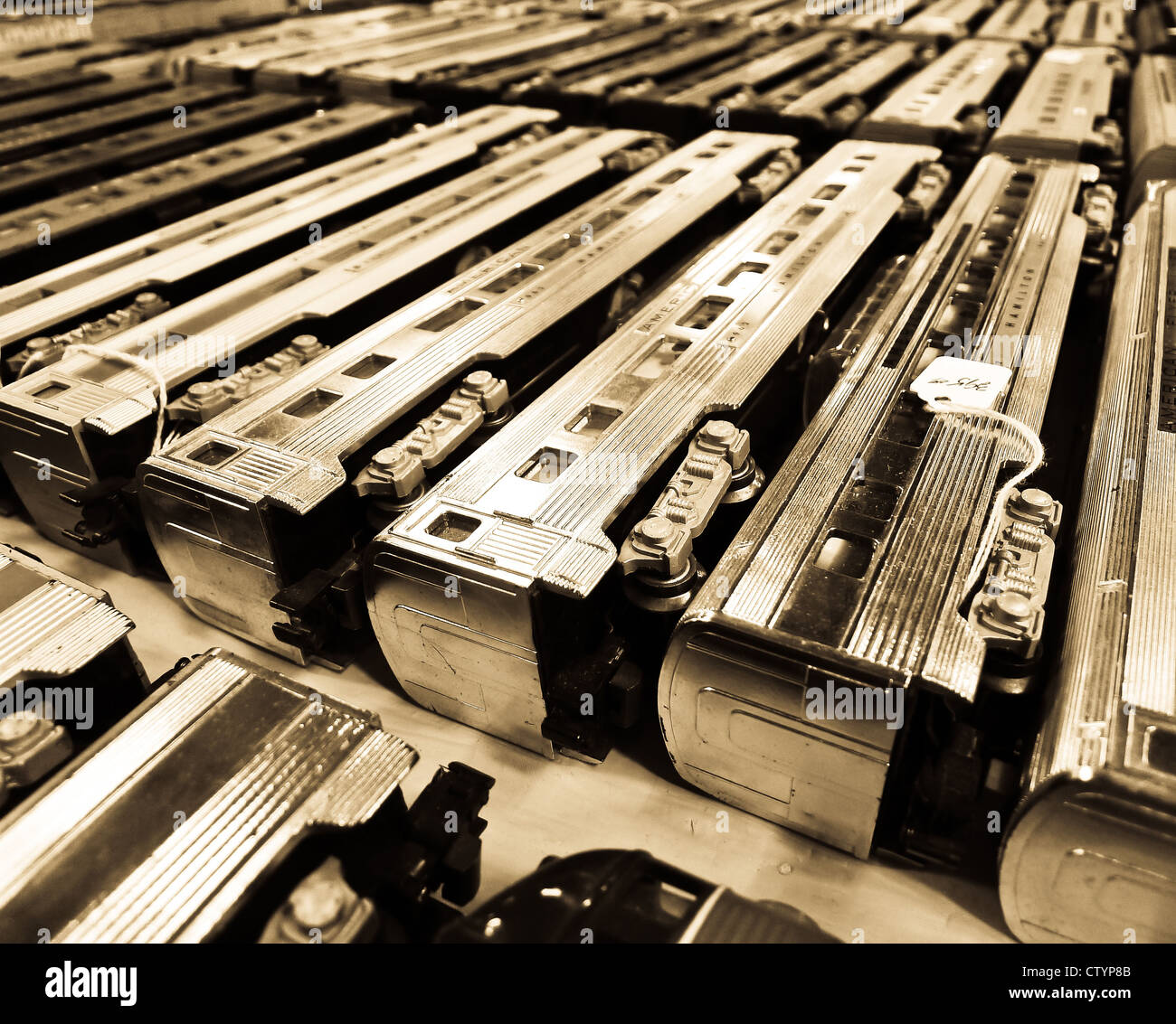 Old model railroad passenger train cars for sale at a flea market ...