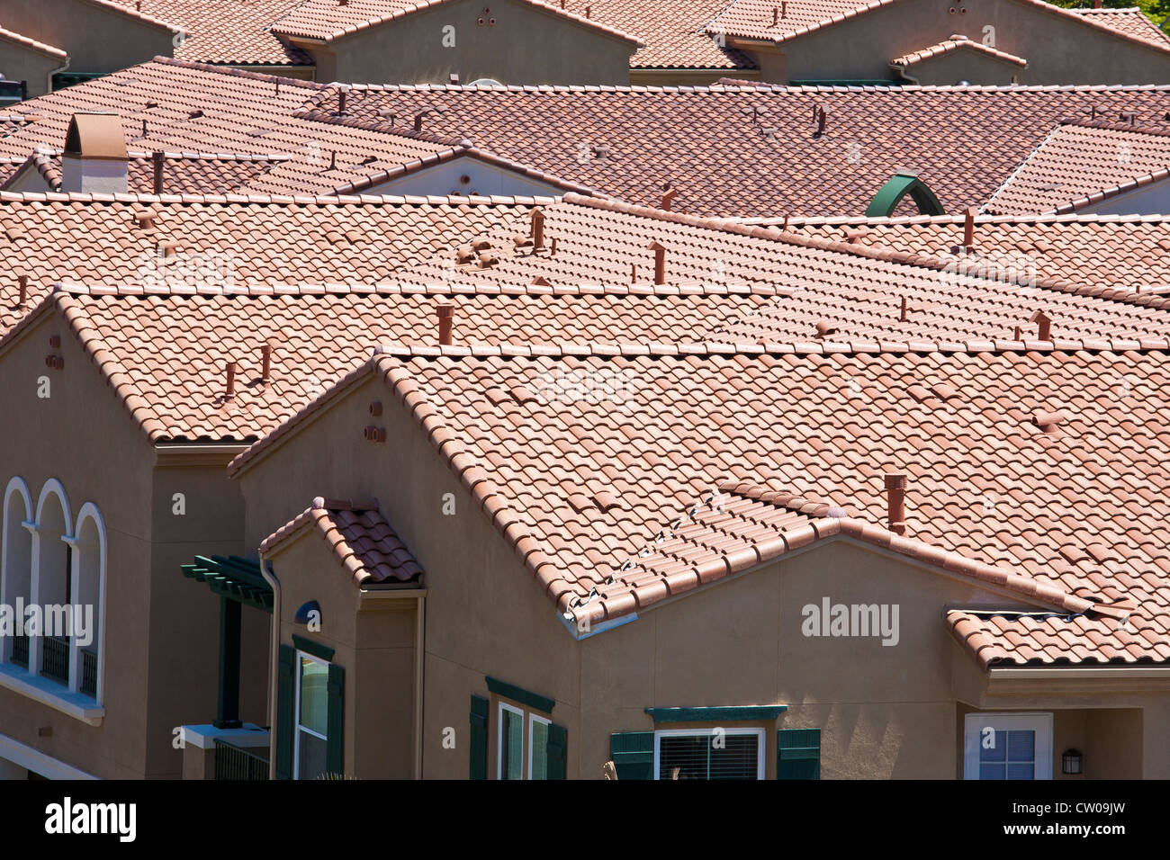 Stock Photo   Cement Tile Roofs In Suburban Apartment Development In  Southern California