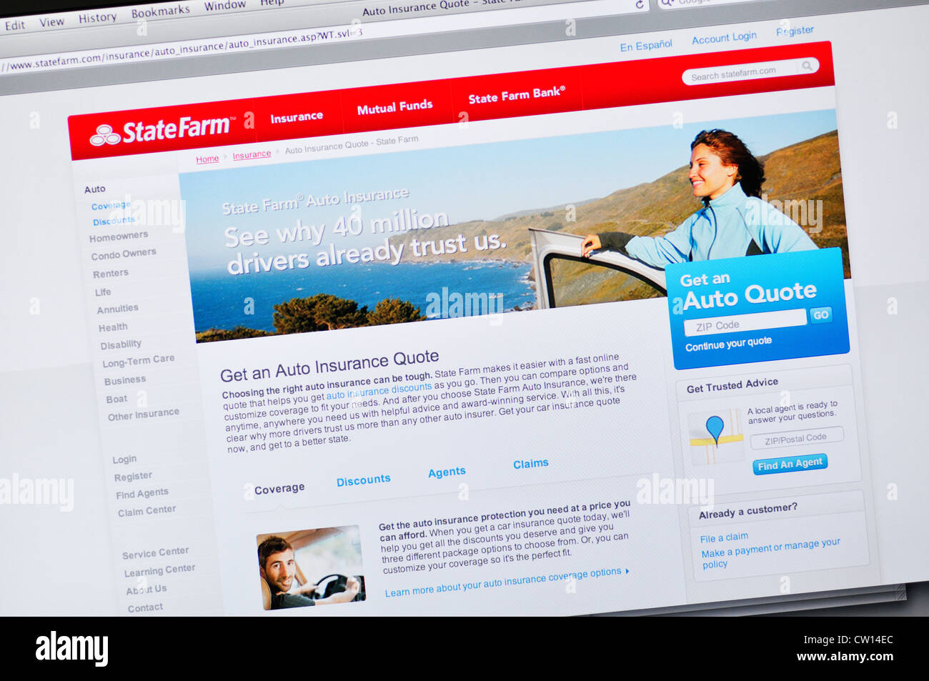State Farm Online Quote Statefarm Insurance Website Stock Photo Royalty Free Image