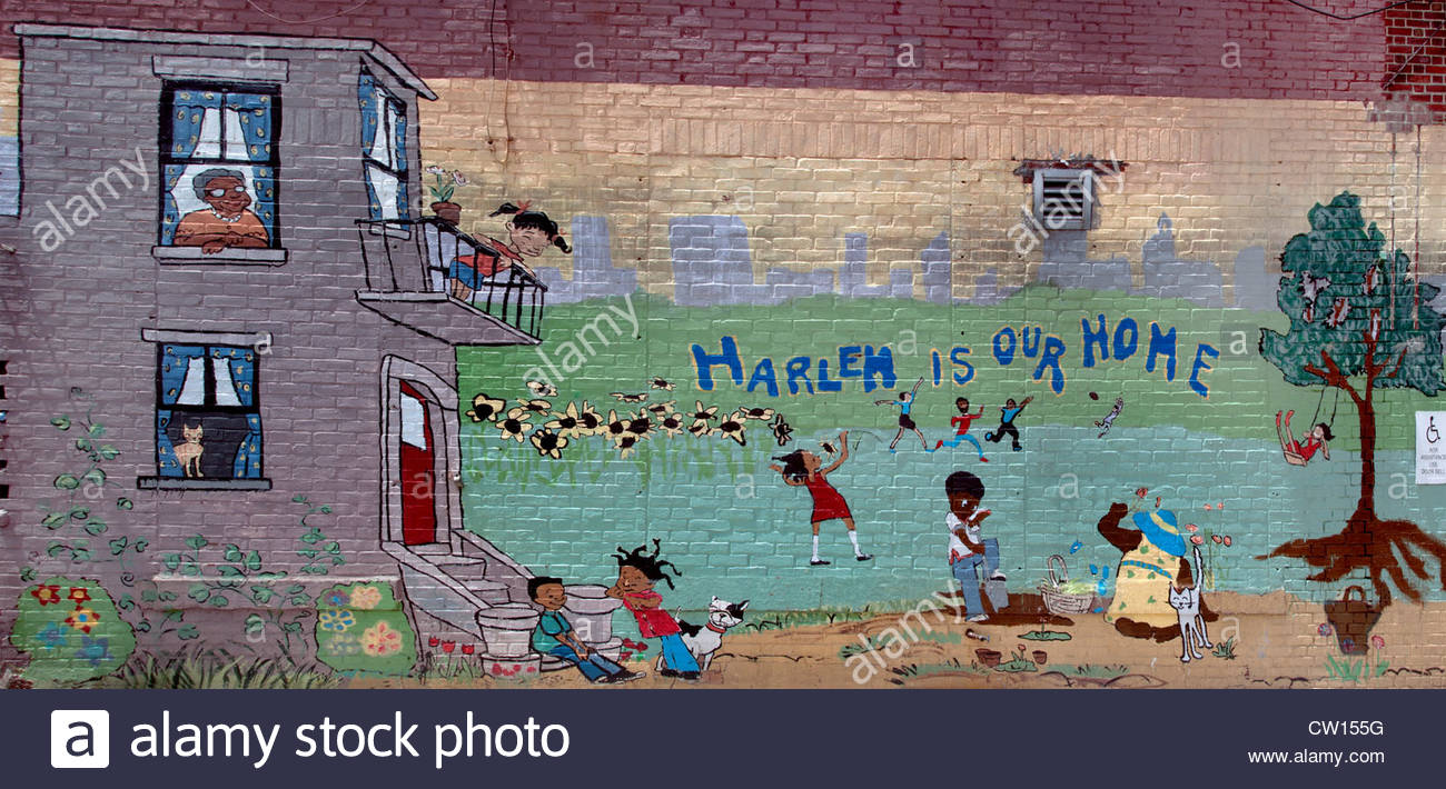 street art mural painting harlem is our home painted on a school stock photo street art mural painting harlem is our home painted on a school wall harlem new york city united states of america