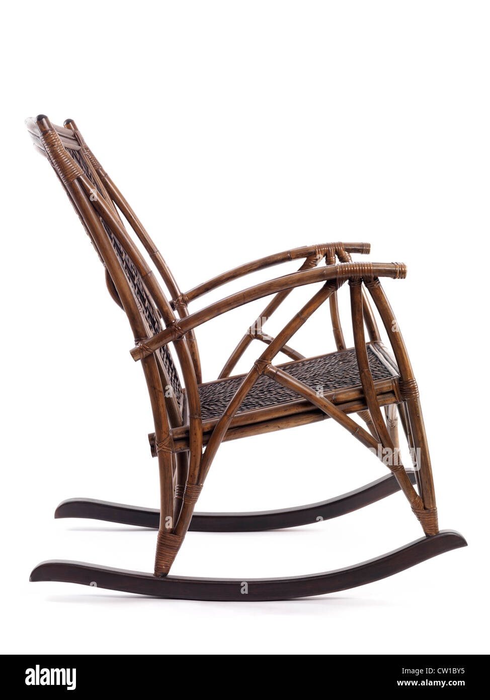 Antique Wooden Rocking Chair Side View Isolated On White Background