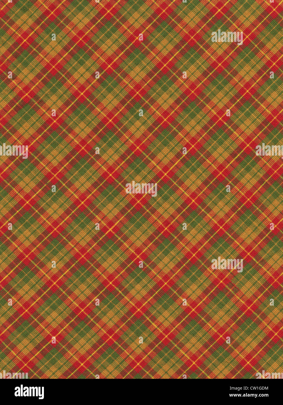 Red green and yellow plaid gingham textile fabric background Stock ...