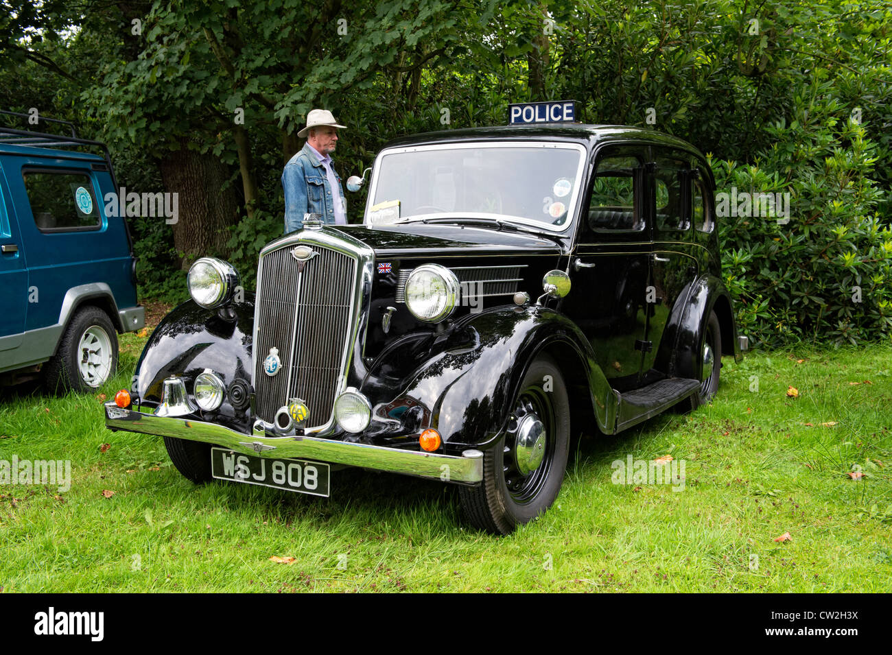 classic vintage Wolseley motor car being used as a Police Car at a ...