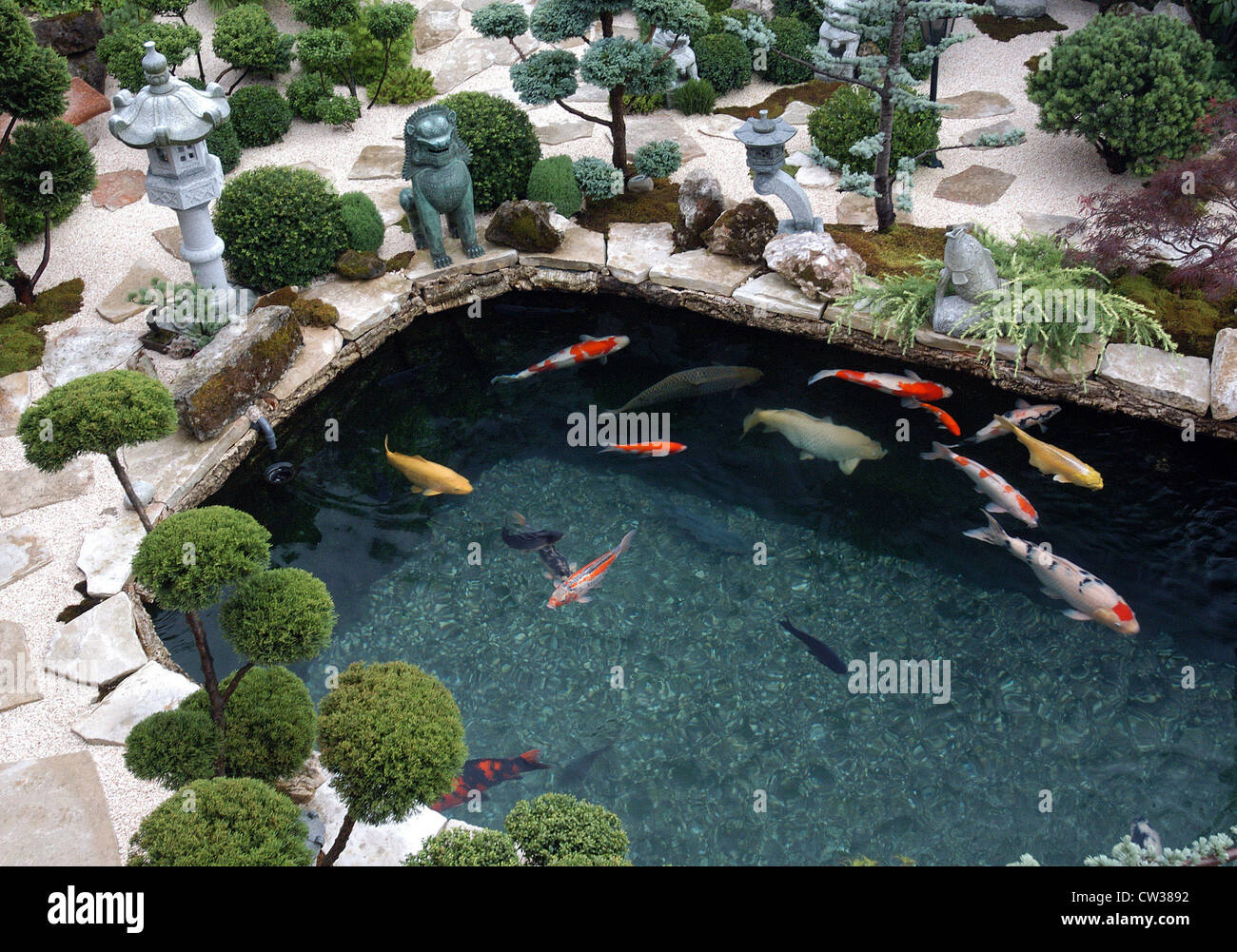 koi pond in reigoldswil switzerland stock photo royalty free image 49859518 alamy. Black Bedroom Furniture Sets. Home Design Ideas